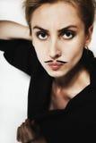 härlig mustasch ung målad kvinna royaltyfri bild