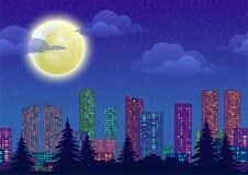 härlig natt för stadsillustrationliggande Stock Illustrationer