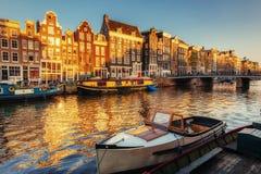 Härlig natt i Amsterdam exponering royaltyfri bild