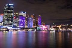 Härlig nattscape i staden av Sydney Australia Arkivfoto