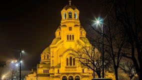 Härlig nattsikt i centrala Sofia Temple St Alexander Nevski lökformig Royaltyfri Fotografi
