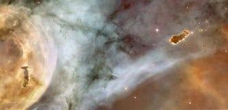 Härlig nebulosa i kosmos långt borta Retuscherad bild Arkivbild