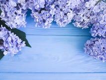 Härlig ny lila ferie för gåva för dag för mödrar för garneringhälsningårsdag på en träbakgrundsgräns arkivbild