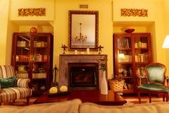 Härlig och bekväm vardagsrum med en central spis, denna omges av hyllor mycket av böcker Detta foto togs royaltyfria bilder