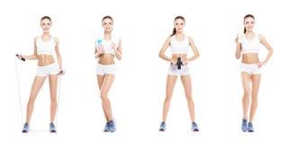 Härlig och färdig kvinna i en konditiongenomkörare Isolerad collage Sport-, näring-, hälso- och viktförlustbegrepp arkivfoto