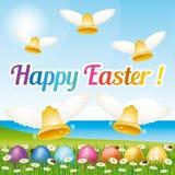 Härlig och färgrik lycklig dropp för påskhälsningkort med easter ägg och klockor Royaltyfri Fotografi