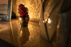 Härlig och liten julgran på en reflekterande yttersida arkivfoton