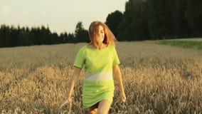 Härlig och lycklig kvinna som går i vetefält stock video