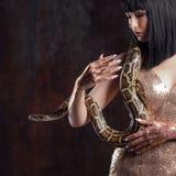 Härlig och mystisk brunett i en guld- klänning och med en orm fotografering för bildbyråer