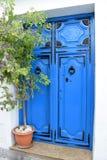 Härlig och unik blå dörr och växt i Frigiliana - spansk vit by Andalusia Royaltyfri Bild