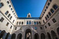 Härlig offentlig byggnad i den historiska mitten i Padua Italien Arkivbilder