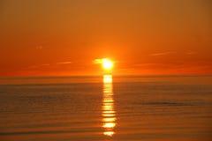 Härlig orange solnedgång Fotografering för Bildbyråer