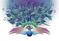 Härlig påfågel i dekorativ stil Arkivbilder