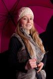 härlig påkläddvinterkvinna Royaltyfri Fotografi