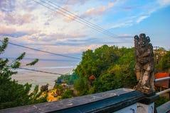 Härlig Pabang Pabang strand, sikt från ovannämnt precis för solnedgång bali indonesia Äta, be, älska Julia Roberts Royaltyfri Foto