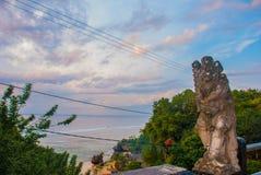 Härlig Pabang Pabang strand, sikt från ovannämnt precis för solnedgång bali indonesia Äta, be, älska Julia Roberts Royaltyfri Bild