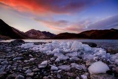 Härlig Pangong sjöPangong Tso i solnedgångtid, Ladakh, Ind royaltyfri foto