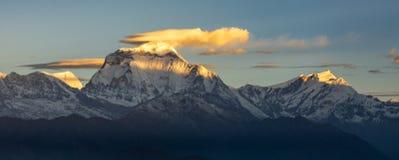 Härlig panorama av den Dhaulagiri toppmötet och moln under soluppgång från Poonhill, Himalayas royaltyfri fotografi