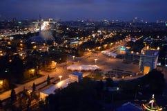 Härlig panorama av huvudstaden av vårt hemland, Moskva från en sikt för öga för fågel` s arkivbild