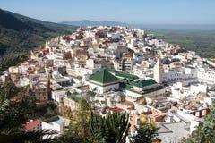Härlig panorama av Moulay Idriss Zerhoun, Marocko Royaltyfri Foto