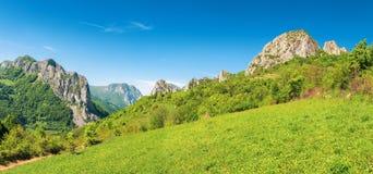 Härlig panorama av Rumänien bygd royaltyfria foton