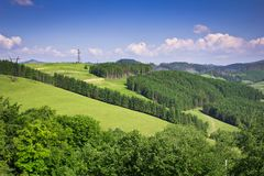 Härlig panorama av skognaturen av den ukrainska regionen Fotografering för Bildbyråer