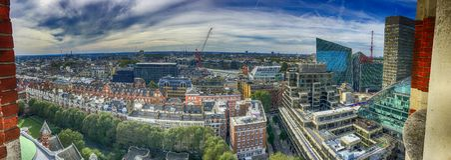 Härlig panorama- flyg- sikt av London byggnader Fotografering för Bildbyråer
