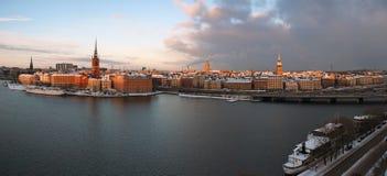 härlig panorama stockholm Arkivbilder