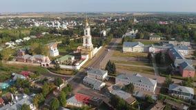 Härlig panoramautsikt av Suzdal i sommar på soluppgång klockatorn och Rizopolozhensky kloster i Suzdal Suzdal är lager videofilmer