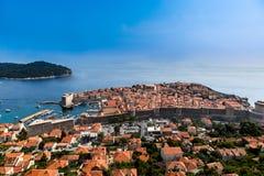 Härlig panoramautsikt från ovannämnd Dubrovnik Kroatien royaltyfri bild