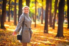 härlig parkkvinna för höst Den lyckliga le flickan i färgrikt parkerar fall Flicka som går i höstnatur royaltyfria foton