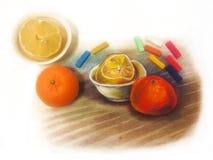Härlig pastellfärgad målning och stilleben, tjänade som som en modell Frukter: citron och orange tangerin vektor illustrationer