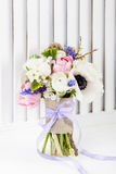 Härlig pastellfärgad vårbukett Arkivfoto