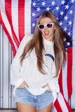 Härlig patriotisk flicka Royaltyfri Foto