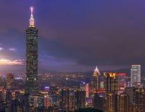 Härlig plats av den Taipei staden på solnedgången Royaltyfria Foton