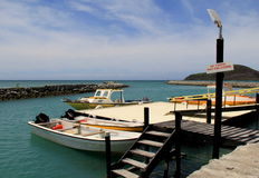 Härlig plats av fiskebåtar på pir, guld- punktsemesterort, Fiji, 2015 Arkivfoto