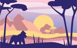 Härlig plats av naturen, fridsamt Afrian berglandskap med gorillan, mall för banret, affisch, tidskrift, räkning royaltyfri illustrationer