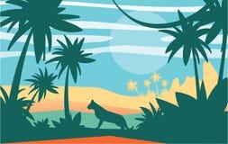 Härlig plats av naturen, fridsamt djungellandskap med tigern på dagtid, mall för banret, affisch, tidskrift vektor illustrationer