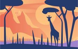 Härlig plats av naturen, fridsamt savannahlandskap med giraffet på solnedgången, mall för banret, affisch, tidskrift vektor illustrationer
