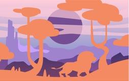 Härlig plats av naturen, fridsamt savannahlandskap med lejonet, mall för banret, affisch, tidskrift, räkning vektor illustrationer