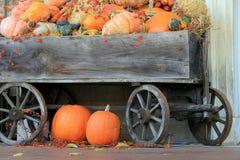 Härlig plats av trävagnen med nedgångsquash och pumpor arkivfoton