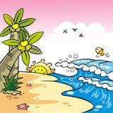 härlig platssolnedgång för strand Vektor Illustrationer