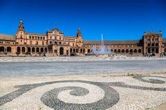 Härlig Plaza de Espana, Sevilla, Spanien Royaltyfri Bild