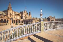 Härlig Plaza de Espana, Sevilla, Spanien Royaltyfri Fotografi
