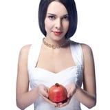 härlig pomegranateskvinna Royaltyfri Foto
