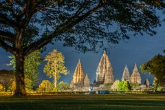 H?rlig prambanan tempel, yogyakarta, indonesia royaltyfri foto