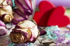 Härlig pressande rosebud på glittret för bakgrundspapper och två röda hjärtor Arkivfoton