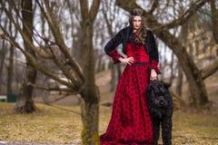 Härlig prinsessa i röd klänning och svarta pälsomslaget som poserar i krona tillsammans med hennes hund i Forest During Early Spr fotografering för bildbyråer