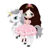 Härlig prinsessa med hästen för rosa färgklänningridning Arkivbild