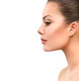 Härlig profilframsida av den unga kvinnan Royaltyfria Bilder